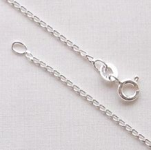 "Sterling Silver Chain 16"" (40cm) Light Open Curb Diamond Cut"